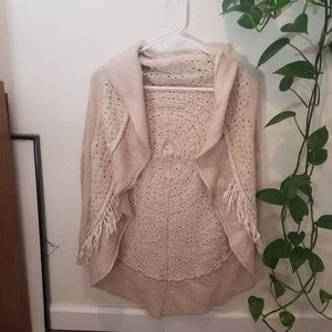 Knitted and knotted fringe circle cardigan Small